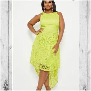 Ashley Stewart neon lime green hi low dress